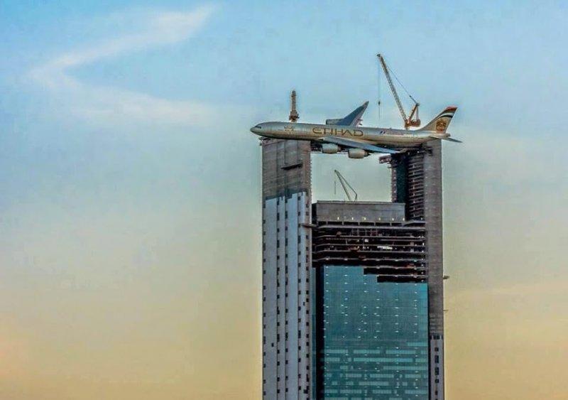 plane on building