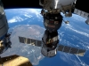 A NASA image showing the International Space Station as it flew over Madagascar showing three of the five spacecraft docked to the station
