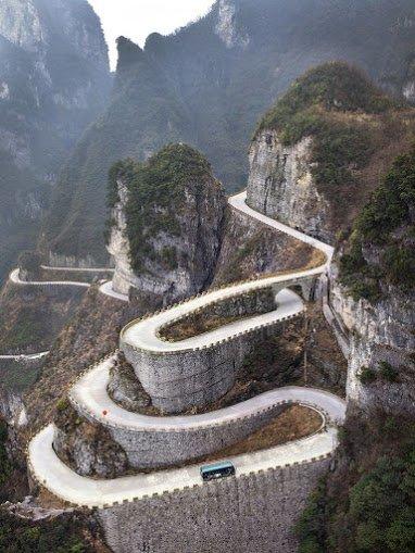 Hairpins , Tianmen mountain China.