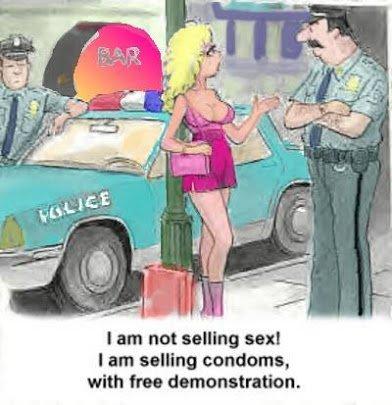 demonstrating condom