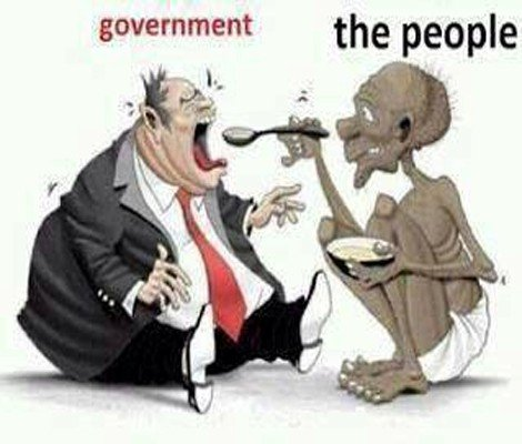 emanciated ppl feeding FAT govt