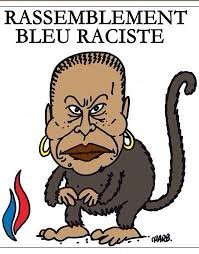 charlie hebob depiction of French Minister of African origin as a monkey