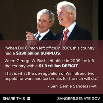 clinton surplus vrs bush deficit