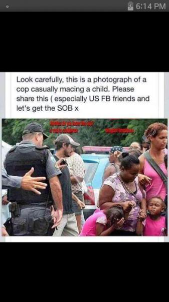 cop macing a child