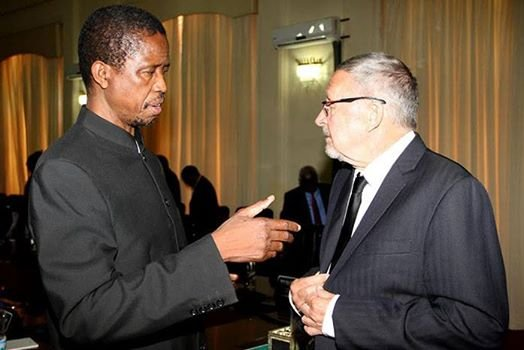 Acting zambian president Dr Guy Scott and PF general secretary Edgar Lungu