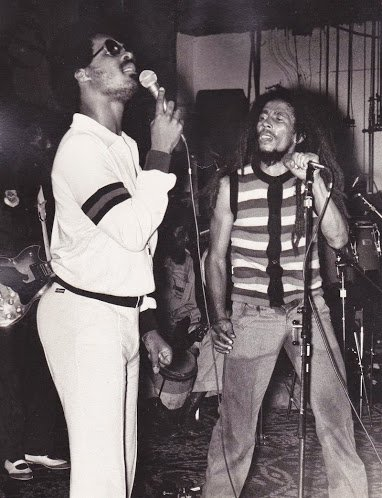 November 7th, 1979 Bob and Stevie Wonder take the stage together during a benefit concert for the Black Music Association at Penn Hall in Philadelphia.