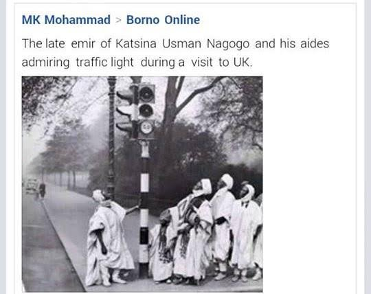 Sir Usman Nagogo dan Muhammadu Dikko was the Emir of Katsina from May 19, 1944 till his death on March 18, 1981 admiring london traffic light