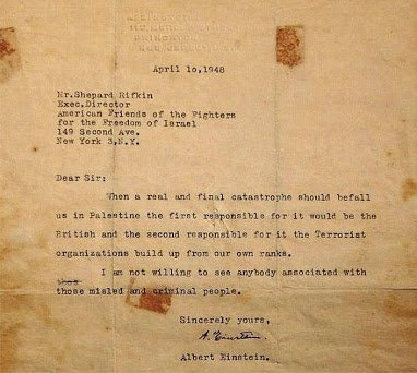 albert einstein letter on a massacre