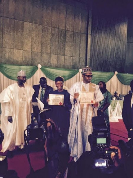 buhari and osibanjo display their certificates