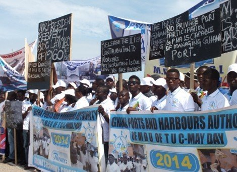 demonstrating ghanaian workers
