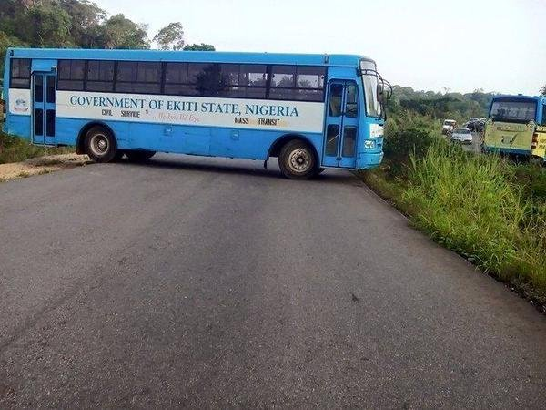 ekiti state govt bus in protest