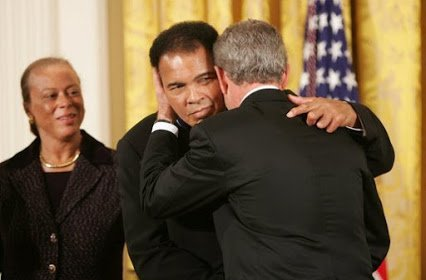 george bush jr awarded mohammed ali medal of freedom