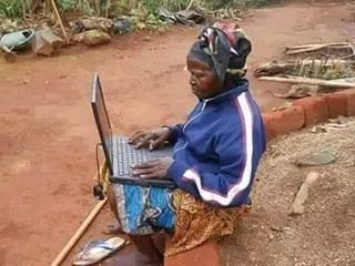 grandma with laptop
