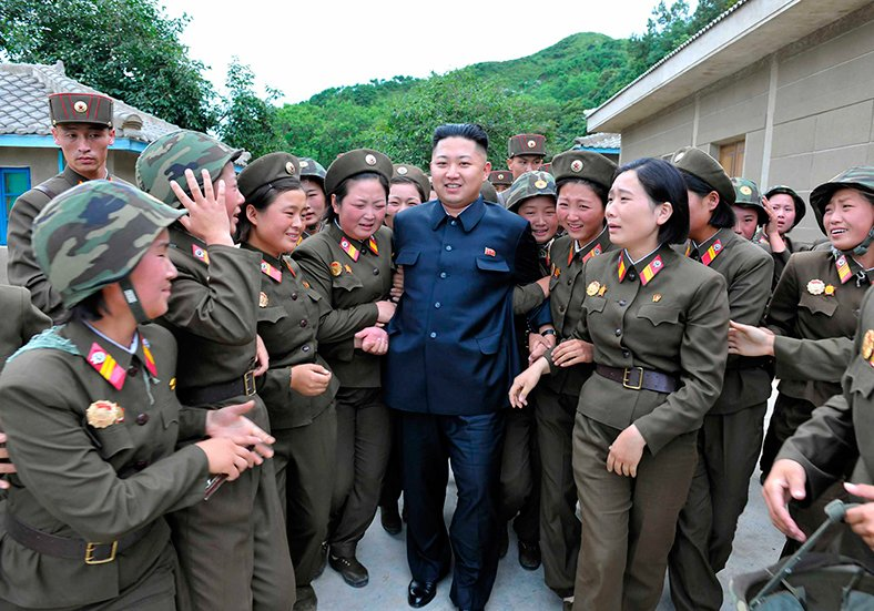 north korean leader and his troop