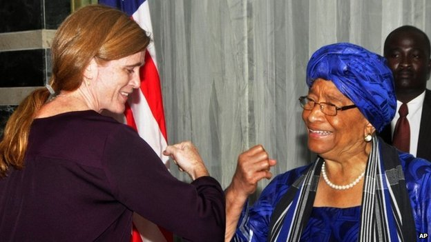 samantha power with sirleaf