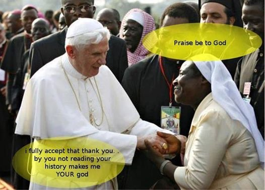 african woman thanking pope