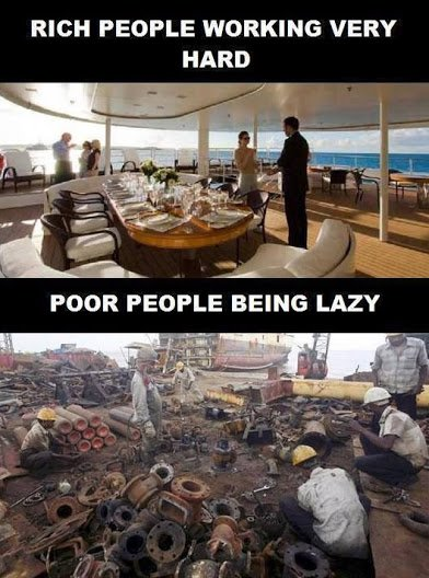 poor and rich working hard