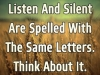 listen and silent are spelt with same words