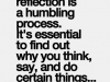 self reflection is good