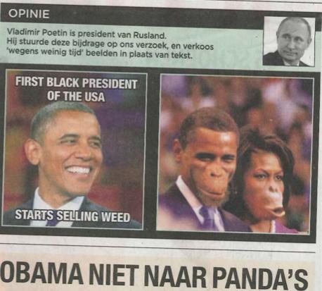 Belgian Newspaper depiction of Obama