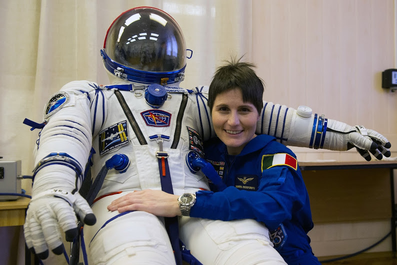 Samantha Cristoforetti will be Italy's first woman in space and the second ESA female astronaut in space! Samantha is pictured here with the Sokol suit she will wear in the Soyuz spacecraft