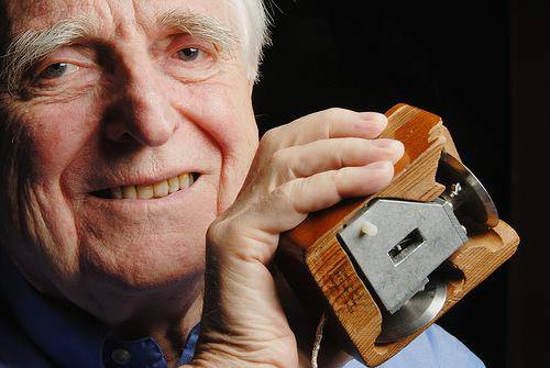 douglas engelbart with his original computer mouse