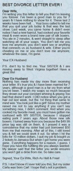 best divorce letter