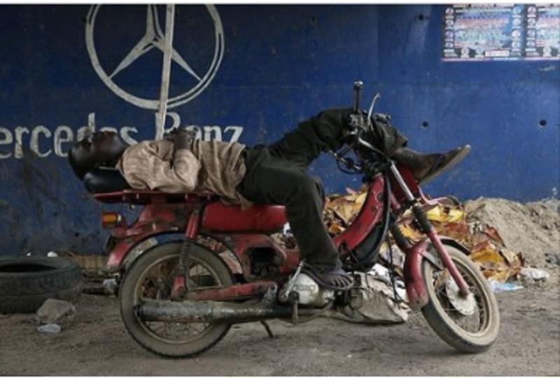 biker relaxing