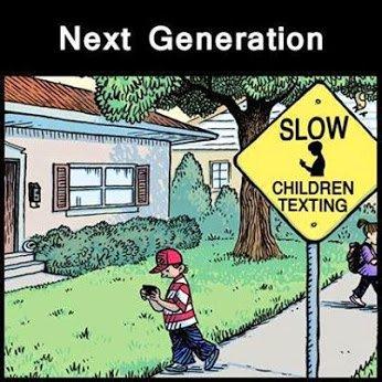 children texting sign