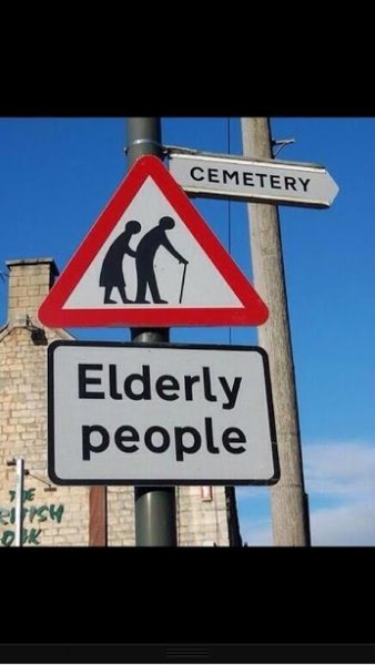 elderly n cementery sign