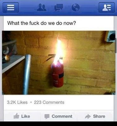 fire on fire extinguisher