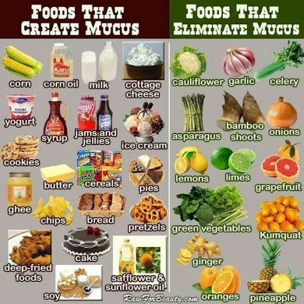 food that causes mucus