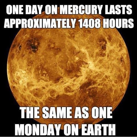 one day on mecury is one earth's month