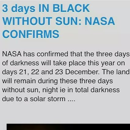three days of total darkness in dec 21 to 23