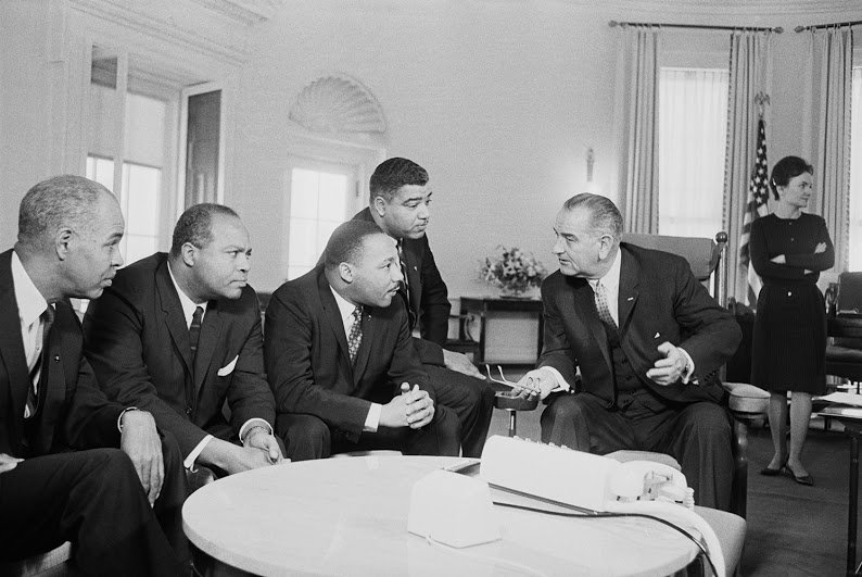 President Lyndon B. Johnson Johnson meeting at the White House in 1964 with a group of civil rights leaders