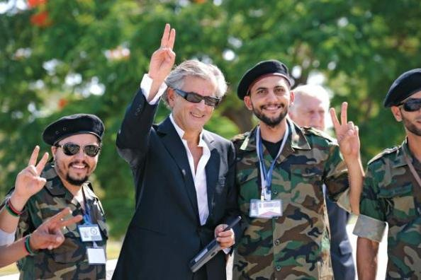french jew philosopher levi with anti ghadafi forces
