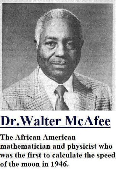 walter mcafee calculated the speed of the moon