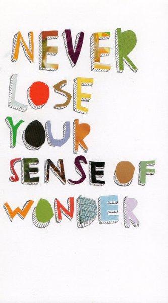 never lose your sense of wonder