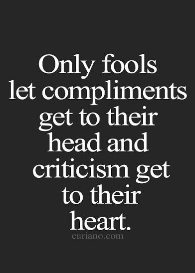 on compliments and criticism